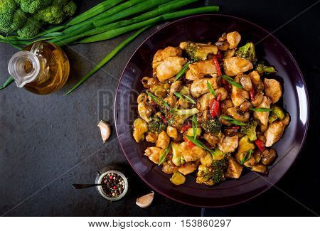 Stir Fry With Chicken, Mushrooms, Broccoli And Peppers - Chinese Food. Top View