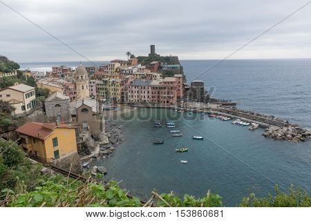 VERNAZZA ITALY - October 24 2016 :Colorful buildings in Vernazza one of the four villages from Cinque Terre in Italy