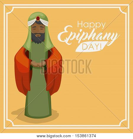 Wiseman cartoon icon. Happy epiphany day holy night and christmas theme. Colorful design. Vector illustration