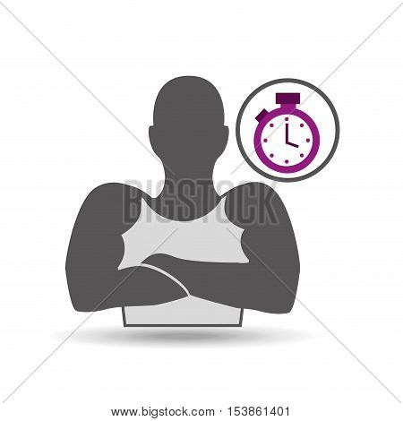silhouette amrs crossed and chronometer vector illustration eps 10