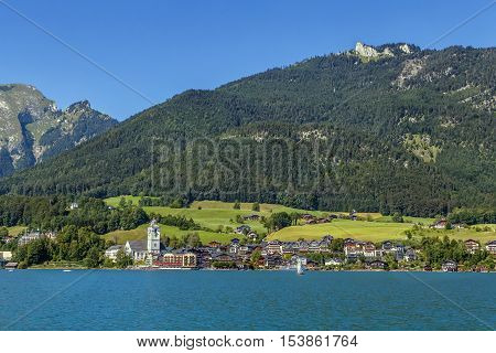 View of St. Wolfgang from Wolfgangsee lake Austria