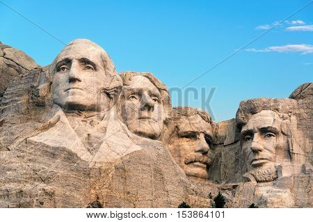 Classic view of Mount Rushmore in South Dakota
