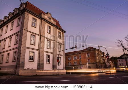 Typical German European Residence Office Architecture Crossing Road Long Exposure Sunset Blue Hour L