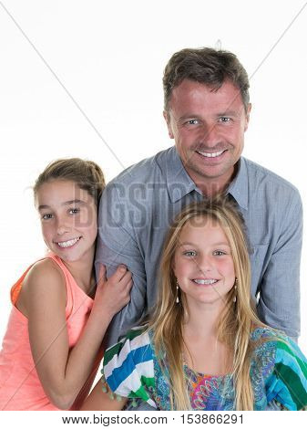 Portrait of a father and her two daughter