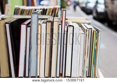 Row Of Books At An Antiquarian Bookshop