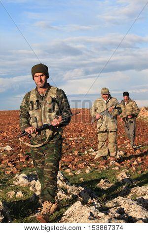 MARDIN,TURKEY- MARCH 17, 2013 : Kurdish paramilitary stands guard on March 17, 2013 in Mardin, Turkey. They are called ranger in Turkey.