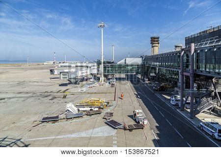 MARSEILLES FRANCE - AUG 19 2016: view to new terminal at airport of Marseilles France.