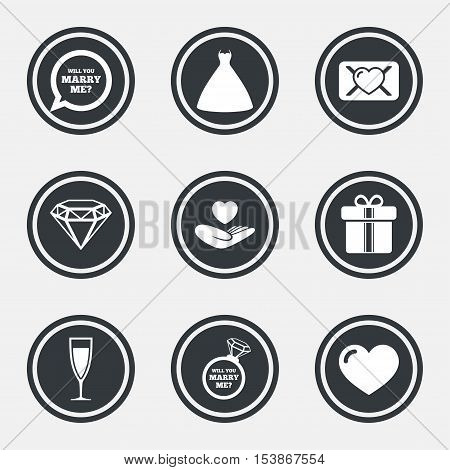 Wedding, engagement icons. Love oath letter, gift box and brilliant signs. Dress, heart and champagne glass symbols. Circle flat buttons with icons and border. Vector