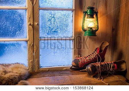 Warm shelter in winter frosty day with cozy place
