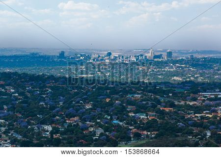 View to Sandton Johannesburg with Jacarandas all the way October 2016
