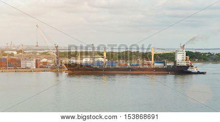 Cargo Ship In Dockyard