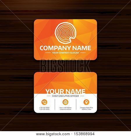 Business or visiting card template. Wood sign icon. Tree growth rings. Tree trunk cross-section with nick. Phone, globe and pointer icons. Vector