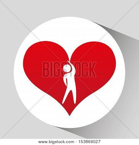 athlete silhouette heart beat streching vector illustration