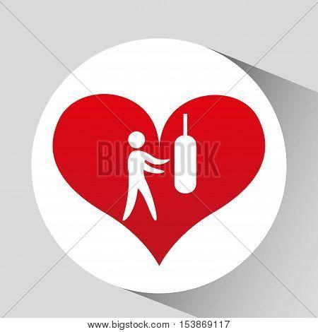 athlete silhouette heart beat workout vector illustration