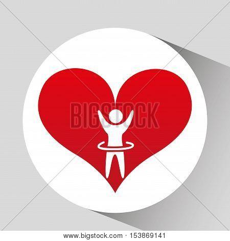 athlete silhouette heart beat design graphic vector illustration eps 10