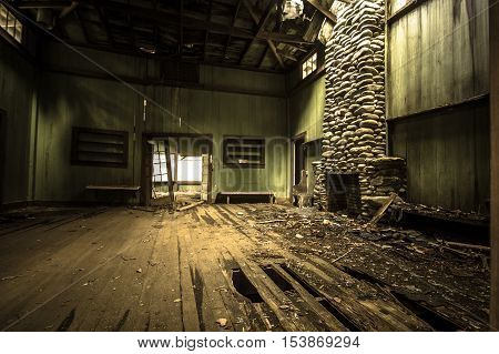 Interior Of Elkmont Home. The interior of an abandoned vacation home on Millionaire's Row in the Great Smoky Mountains National Park. Gatlinburg, Tennessee. Structure is owned by the national park and not private property.