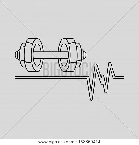 barbell heart rate icon design graphic vector illustration eps 10
