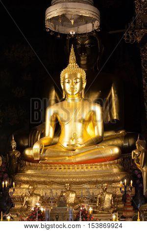 Golden Buddha statue in the church Thailand