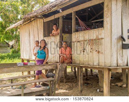 Santa Rita Peru - May 6 2016: Small village in the amazons jungle.