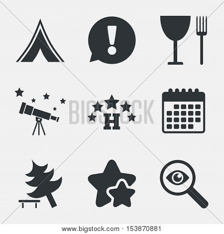 Food, hotel, camping tent and tree icons. Wineglass and fork. Break down tree. Road signs. Attention, investigate and stars icons. Telescope and calendar signs. Vector