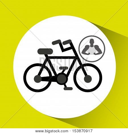 silhouette man showing muscle with bycicle vector illustration