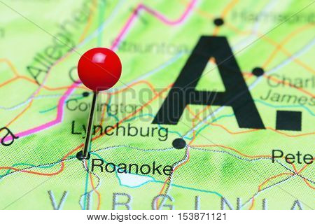 Roanoke pinned on a map of Virginia, USA