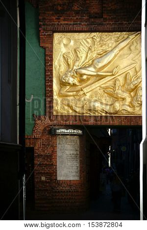 BREMEN, GERMANY - AUGUST 30: The famous Boettcher street in Bremen at the Paula Modersohn-Becker Museum with the gold relief