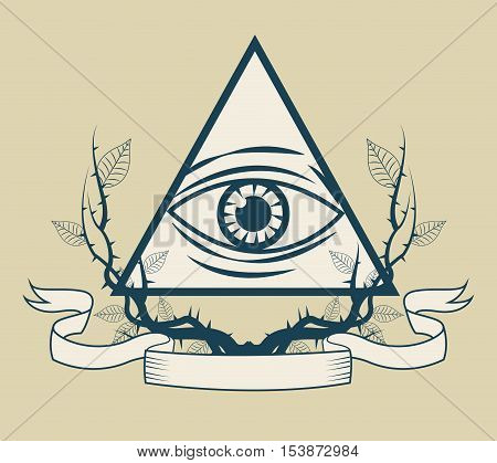 Eye of providence icon. Tattoo art urban style and culture theme. Vector illustration