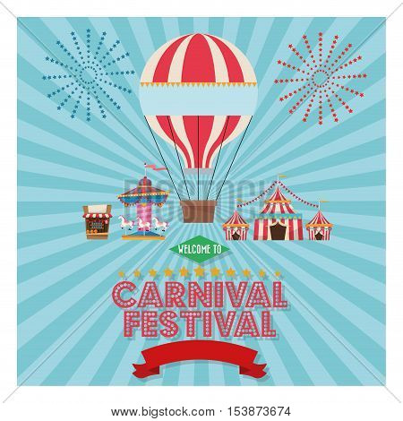 striped tent hot air balloon and carousel icon. Carnival festival fair circus and celebration theme. Colorful design. Vector illustration