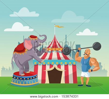 striped tent strength man and elephant icon. Carnival festival fair circus and celebration theme. Colorful design. Vector illustration