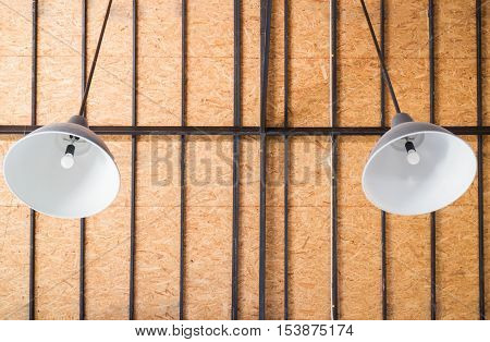 Lamp hanging on the ceiling stock photo