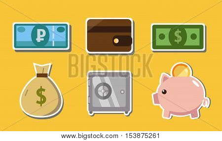 money icons (piggy, dollar, wallet, rubl, safety Deposit box)