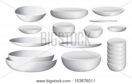 a white ceramic bowl and dishes  white ceramic bowl and dishes