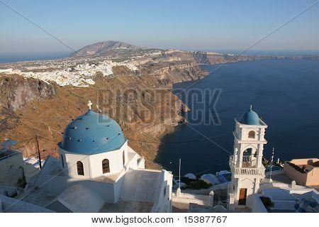 blue church on a blue sea
