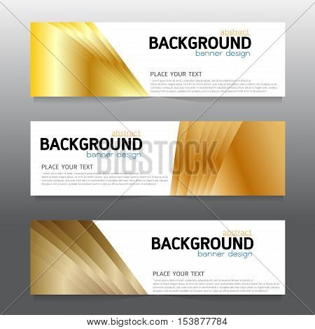 vector background banner Collection horizontal business set templates. modern geometric abstract layout for website design. simple creative cover header. in rectangle size space message text gold and white