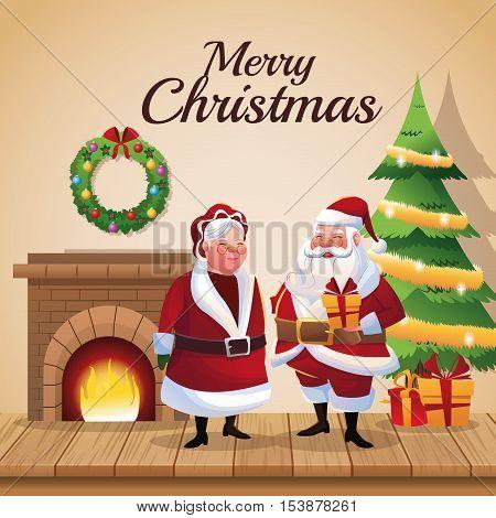 Santa and wife cartoon icon. Christmas season card decoration and celebration theme. Colorful design. Vector illustration