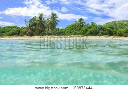 Over under shot of unspoilt tropical Zoni Beach on Caribbean island of Isla Culebra with coconut palms and clear turquoise green water