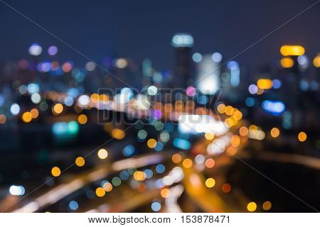 Night blurred lights city highway interchanged, abstract background