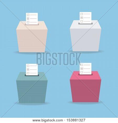 ballot box vote 4 color flat design vector