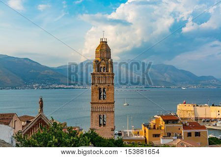 Landscape of old town Gaeta on sunset Italy