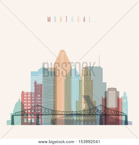 Transparent styled Montreal province Quebec skyline detailed silhouette. Trendy vector illustration.