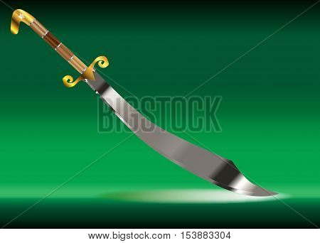 A scimitar sword as used by arabian warriors over a white background