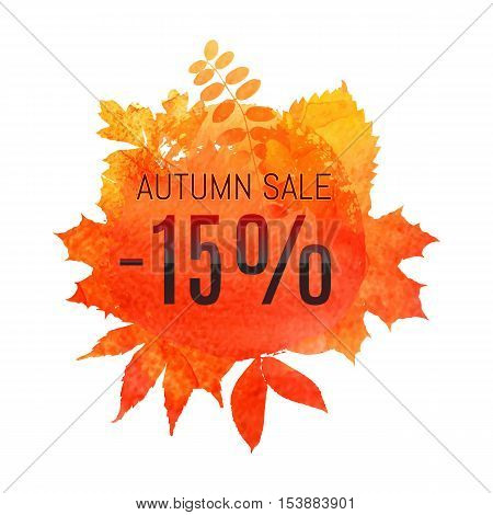 Autumn Leaf Foliage Watercolor. Autumn Sale - 15 % Off . Fall Sale. Web Banner Or Poster For E-comme