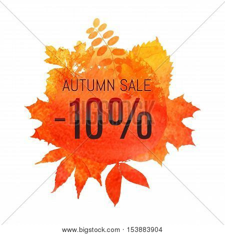 Autumn Leaf Foliage Watercolor. Autumn Sale - 10 % Off . Fall Sale. Web Banner Or Poster For E-comme