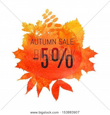Autumn Leaf Foliage Watercolor. Autumn Sale - 5 % Off . Fall Sale. Web Banner Or Poster For E-commer