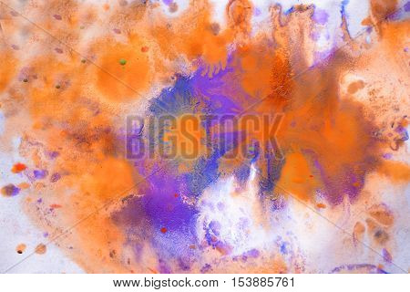 Multicolored paint stains, drips, splashes, mixing. Abstract colorful background