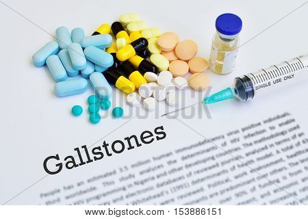 Drugs for gallstones treatment, blurred text, medical concept