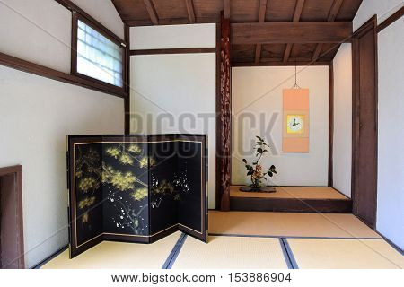 October 15, 2016 in Long Beach, CA:  Inside a Japanese Tea House with Feng Shui style decorating and where people can experience a Japanese Tea House with a harmonious atmosphere taken at the Earl Burns Miller Japanese Garden in Long Beach, CA