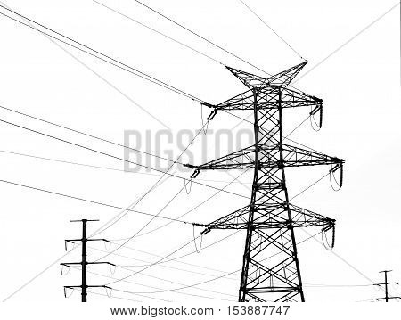 Isolated on white high voltage transmission tower.