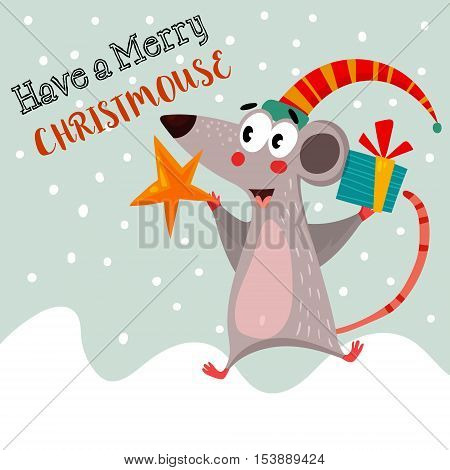 Have A Merry Christmouse.funny Card In Vector.bright Winter Concept Card  With Lovely  Mouse.childis